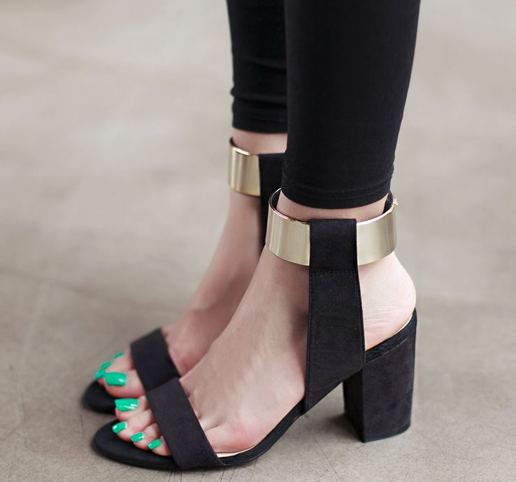 Gold Wrap Ankle Thick High Heel Sandals on Luulla