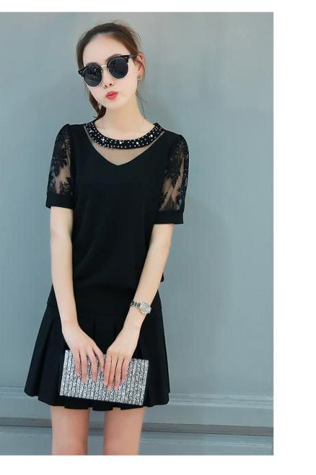 Elegant ornate neckline short sleeves tops