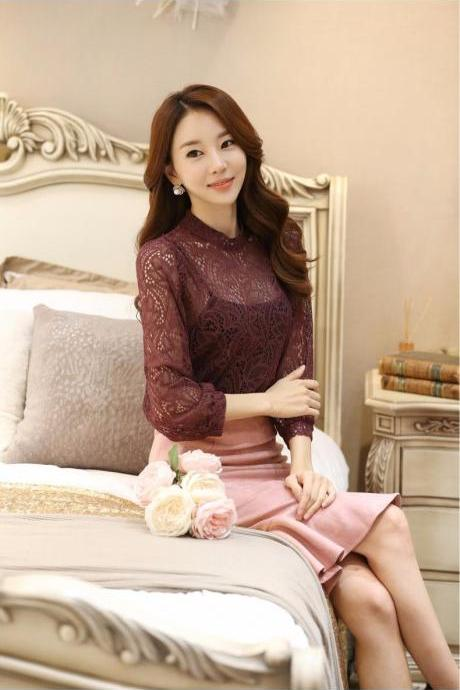 Full lace body three quarter sleeves top