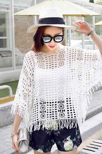 Sexy lace crochet batwing sleeves white top
